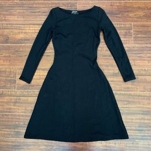 NWOT Nasty Gal Black Skater Dress Long-sleeve S
